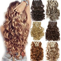 """Hair Extention Full Head Clip in on Synthetic 24"""" Curly Wavy 8PCS"""