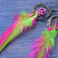neon pink  peace feather dreamcatcher earrings bright pink neon green in native american inspired tribal boho belly dancer and hipster style
