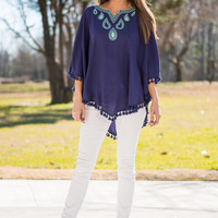 Tear Drops Fall Top, Navy
