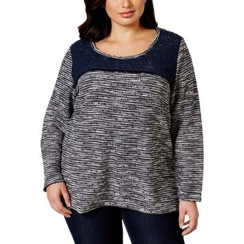 Style & Co. Womens Plus Marled Crochet Pullover Top