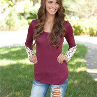 Red Long Sleeve with Lace T-Shirt