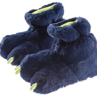 Boys Navy Blue Plush Paw Monster Slipper