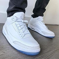 "NIKE Air Jordan 3 ""Pure White"" high-top men's basketball sneakers Shoes"