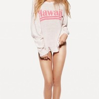 HAWAIIAN DREAM DESTROYED SWEATER at Wildfox Couture in  CHILL PILL, STRAWBERRY ICE