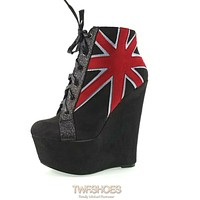 "Mona Mia Black 6"" High Heel Platform Wedge Ankle Boots British Flag Design"