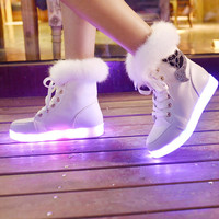 Winter 2016 Female Luminous Shoes Women Snow Boots LED Colorful UBS Lamp Fluorescent Light Casual Shoes Charge White Black Boot
