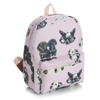 Lovely Korean Canvas Cute Dogs Pale Violet Backpack = 4887873796