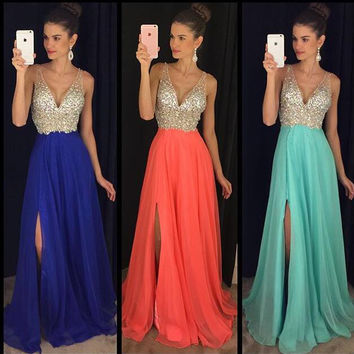 Sleeveless Chiffon Floor Length Prom Dresses Sequin Embellishment pst0102