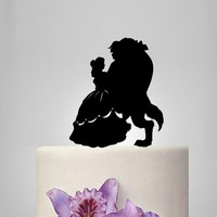 """Fashion Theme """"Beauty and the Beast"""" Wedding Cake Topper Cake Decoration Wedding Anniversary Acrylic Cake Topper Party Supplies"""