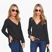 New Fashion Womens Tops 2017 Women Long sleeve V-neck chiffon blouse for spring autumn summer