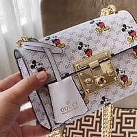 GUCCI x DISNEY Lock Women's Chain Bag Shoulder Bag Crossbody Bag