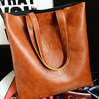 Leather Tote Messenger Bag