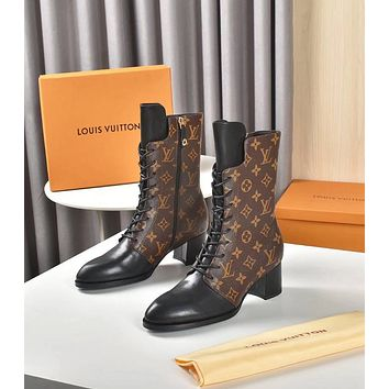 lv louis vuitton trending womens men leather side zip lace up ankle boots shoes high boots 08068