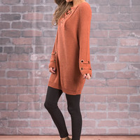 Any Lace But Here Sweater, Rust
