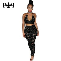 Black Rompers Womens Jumpsuit Roses Applique Sexy Club Wear Mesh Jumsuits Backless Lace Up Women Overalls Female Bodysuits
