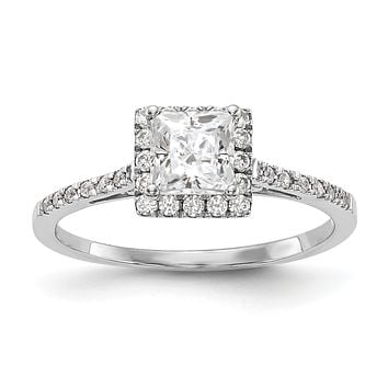 1/3 Ct. Ct. Natural Princess Cut Diamond Semi-mount Engagement Ring in 14K White Gold (Center Diamond is not Included)