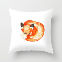fox Throw Pillow by Carrie Booth