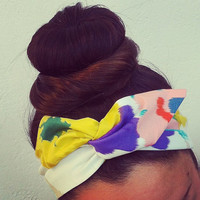 Spring Floral Dolly Bow Headband