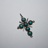 Beautiful Vintage Turquoise Cross Sterling Silver Necklace Pendant  -US free shipping