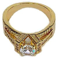 PYRAMID CZ ENGAGEMENT Ring 18KTS of Gold Plated Ring