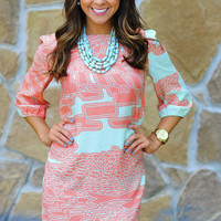 Crack The Spell Dress: Sky Blue/Coral   Hope's