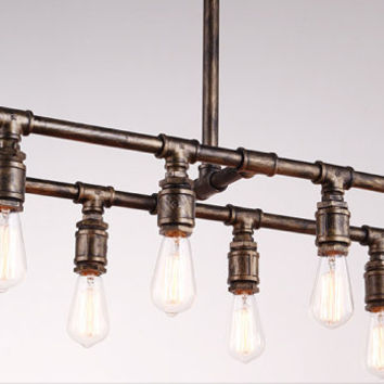 Eight light Geometric Edison Bulb Industrial Chandelier - Plumbing Fixtures