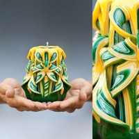 Carved candle - Green candle