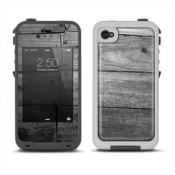 The Gray Worn Wooden Planks Apple iPhone 4-4s LifeProof Fre Case Skin Set