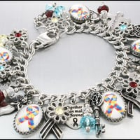 Autism Awareness Charm Bracelet, Autism Awareness Jewelry, Personalized Autism Bracelet
