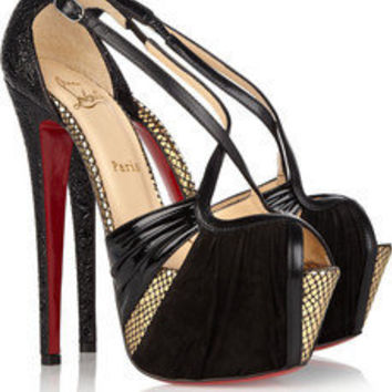 Christian Louboutin|Divinoche 160 suede and textured-leather sandals|NET-A-PORTER.COM
