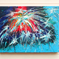 Original Large Abstract Art Painting Fireworks Red Blue Acrylic on Stretched Canvas Frame