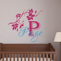 Monogram Wall Decals For Girls Name Decal Tree Branch Vinyl Sticker Kids Nursery Bedroom Decor T129