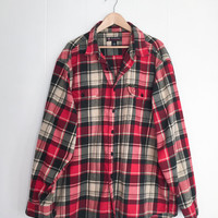 Ralph Lauren Flannel Shirt, Plaid Shirt, Oversized Flannel. Polo Jeans Shirt. Red Boyfriend Flannel. Cotton Flannel 90s Grunge. Boho
