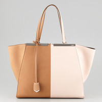 Fendi Trois-Jour Leather Tote Bag, Brown/Pink