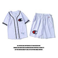 Champion 2018 summer new half sleeve sports casual short-sleeved shorts two-piece F-CP-ZDL-YXC White