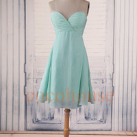 Mint Short Bridesmaid Dresses, Hot Prom Dresses ,Chiffon Simple Party Dresses,Homecoming Dresses ,Evening Dresses, Wedding Party Dresses