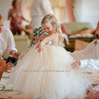 The Victorian, Flower girl dress Ivory, Champagne tutu dress, baby tutu dress, toddler tutu dress,newborn-24, 2t,3t,4t,5t, birthday