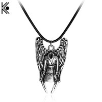 Gift !!! Movie series Supernatural Castiel Wings Angel wicca necklaces & pendants Maxi Silver Chain Necklace Men jewelry