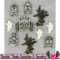 Jesse James Buttons 10 pc GRAVEYARD GHOSTS Halloween Headstone Buttons