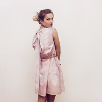 DARLING / hand painted dress with lace & leather belt