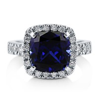 925 Silver Cushion Simulated Blue Sapphire CZ Halo Ring 4.11 ct.tw1 Review(s)   Write A ReviewSKU# R238-SP
