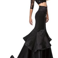 Two piece black Mermaid Prom dress dq9770