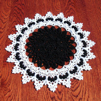 Black and white home decor Halloween table decoration Unique home accent Tabletop decor Black doily Crochet doily Housewarming gift for her