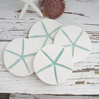 Starfish drink coasters set 4 aqua turquoise white ceramic clay pottery
