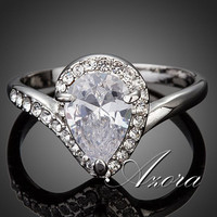 AZORA New Waterdrop Wedding Ring for Women Pear Cut Cubic Zironia Micro Pave Engagement Ring TR0129