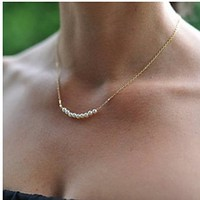 Women's Ladies Simple Pearls Beads Short Necklace Clavicle Necklace