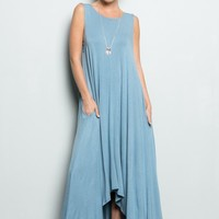 Tiffani's Dusty Blue High Low Maxi Dress