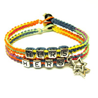 Hers and Hers Couples Bracelet Set, Jewelry for Her, Rainbow Macrame Hemp Bracelets, Star Charms, Made to Order