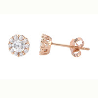 Fancy Stud Earrings Rose Gold Plated Pave White CZ Cubic Zirconia 6mm Circle