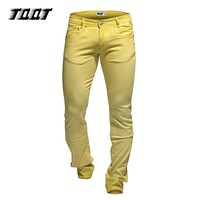 Jeans casual pants stretch slim jeans full length straight pants heavyweight colored